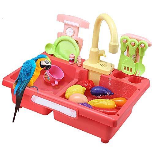 Turtle Story Bird Feeder Vogelbad, Papagei Automatische Badewanne Schwimmbad Vogelkäfig Badezimmer Spielzeug JXNB (Color : Pink)