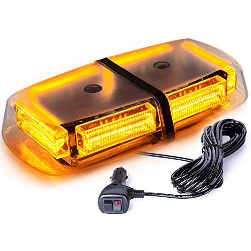 VKGAT 48 LED Roof Top Strobe Lights, Emergency Hazard Warning Safety Flashing LED Mini Bar Strobe Light for Truck Car Snow Plow Vehicles , Waterproof and Magnetic Mount (Amber)