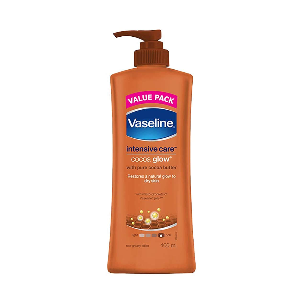 用心深い上フルーツ野菜Vaseline Intensive Care Cocoa Glow Body Lotion, 400 ml