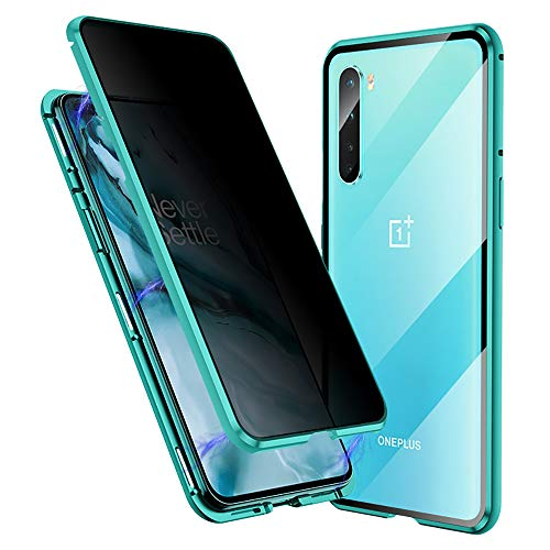 Anti-Spy Case for Oneplus Nord, Jonwelsy 360 Degree Front and Back Privacy Tempered Glass Cover, Anti Peeping Screen, Magnetic Adsorption Metal Bumper for 1+ Nord (Green)