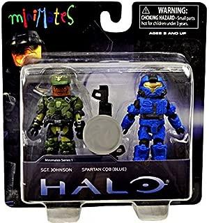 Halo Minimates Series 1 Exclusive Mini Figure 2Pack Sgt. Johnson Spartan CQB Blue