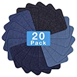 HTVRONT Iron on Patches for Clothing Repair 20PCS, Denim Patches for Jeans Kit 3' by 4-1/4', 4 Shades of Blue Iron On Jean Patches for Inside Jeans & Clothing Repair