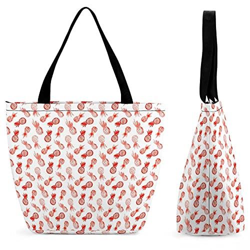 Acuarela naranja piñas bolsa de compras para las señoras bolso de hombro mujeres moda Totes bolso láser corte diseño para Shoppin
