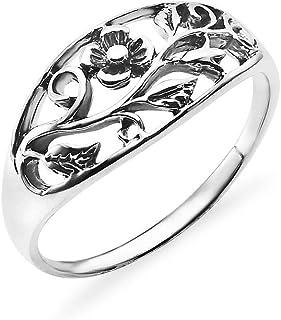 جوتا هاف إت - خاتم من الفضة الخالصة 925 الأصلي مقاس 5-10 | خواتم من الفضة الاسترليني المؤكسدة للنساء والمراهقين والرجال