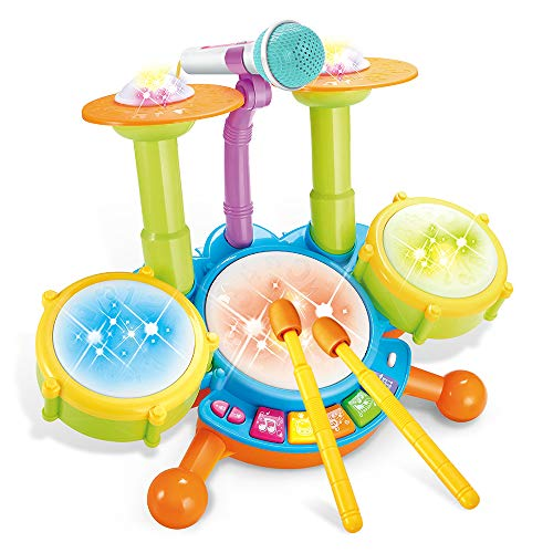 Cozybuy Kids Drum Set, Electronic Musical Instruments Toddlers Toys with 2 Drum Sticks, Beats Flash Light and Adjustable Microphone, Birthday Gift for 1-12 Years Old Boys and Girls