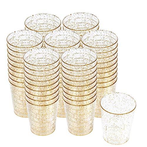 200 Vasos de Chupito Multi-Uso de Plástico Duro con Elegante Brillo Dorado, 2oz(60ml) - Reutilizable, Material Ecológico - Vasos para Shots para Chupitos Vodka Jelly Bodas Fiestas de Navidad.