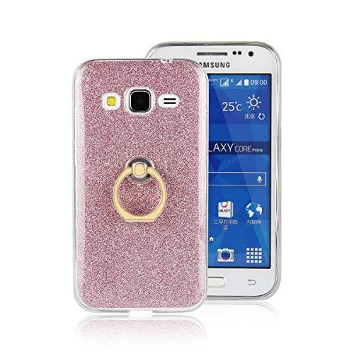 tinyue Cover per Samsung Galaxy Core Prime (G360), Silicone Lucido Custodia Calotta in Morbido Silicone Antiurto in TPU Ultra-Sottile Coperchio con Fibbia ad Anello in Metallo, Rosa