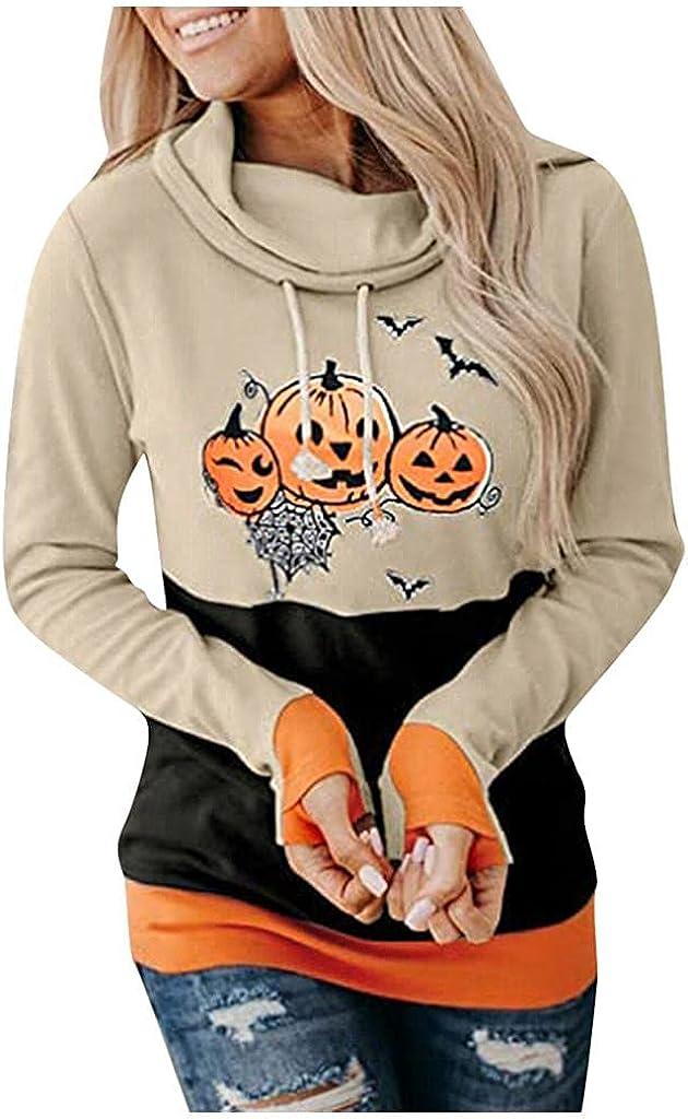 Print Sweatshirts for Women Pumpkin Print Halloween Sweatshirts Long Sleeve Drawstring Pullover Hoodies Tops