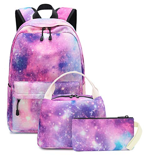 Girls School Backpack Galaxy Schoolbag fit 15inch Laptop Bookbag Insulated Lunch bag for Teens Boys Kids Travel Daypack (Galaxy 034 pink)