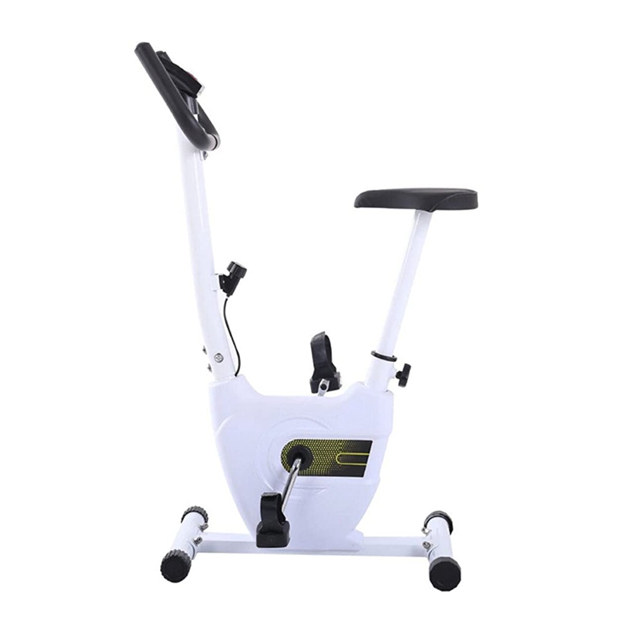 カテナミットポーズスピニングバイク 折りたたみエクササイズバイク磁気抵抗直立自転車で調節可能な高さとスピード静止自転車カーディオワークアウト用ホーム (色 : 白)