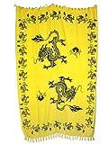 Sarong Pareo Drachen gelb große Auswahl schönste Farben/Wickelrock Strandtuch Sauna-Tuch Wickelkleid Schal Wickeltuch Bademode Freizeitmode Sommermode/aus 100% Viskose