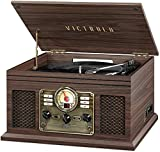 Victrola Nostalgic 6-in-1 Bluetooth Record Player & Multimedia Center with Built-in Speakers - 3-Speed Turntable, CD & Cassette Player, AM/FM Radio | Wireless Music Streaming | Espresso