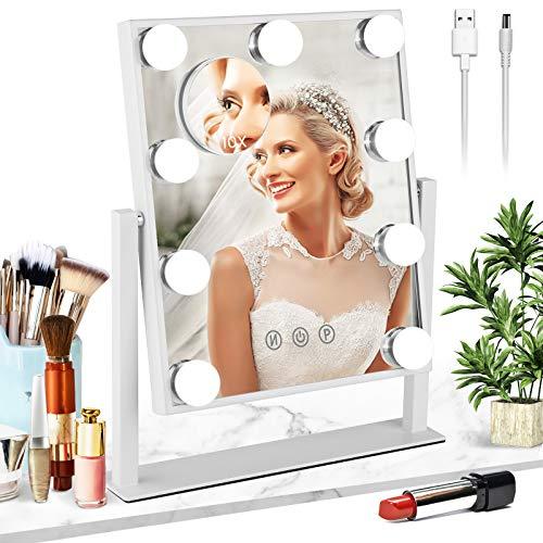 Mayepoo Hollywood Espejo Maquillaje con Luz, con Espejo de Aumento de 10x - 3 Modos de iluminación, Conexión USB, Regalo de Mujer, por Maquillaje de Baile, Afeitado de Hombres, 25 * 30 cm