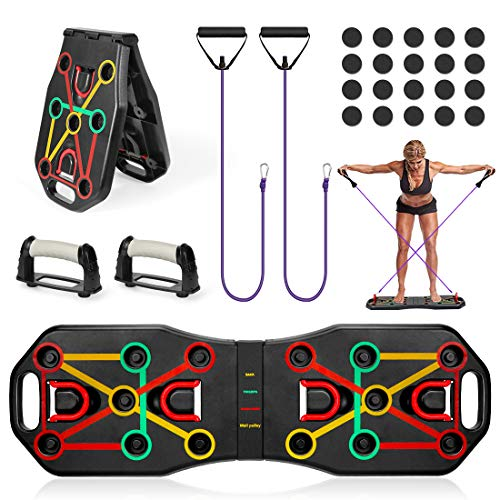 Wishstar Tabla de Flexiones,9 en 1 Push Up Tablero Plegable,Ejercicio Soportes para...