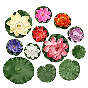 12PCS Realistic Lily Pads with Artificial Floating Foam Lotus Flowers Water Lily Pads Ornaments for Home Garden Pond Pool Decoration