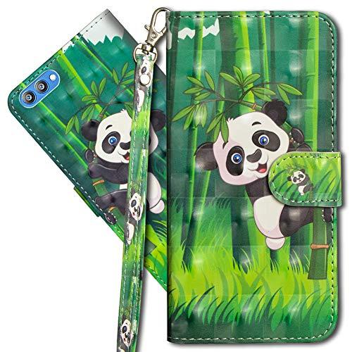 MRSTER Honor View 10 Handytasche, Leder Schutzhülle Brieftasche Hülle Flip Hülle 3D Muster Cover mit Kartenfach Magnet Tasche Handyhüllen für Huawei Honor View 10. YX 3D - Panda Bamboo