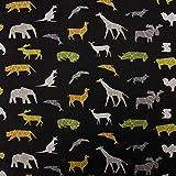 SCHÖNER LEBEN. Baumwolljersey Jersey Origami Tiere schwarz