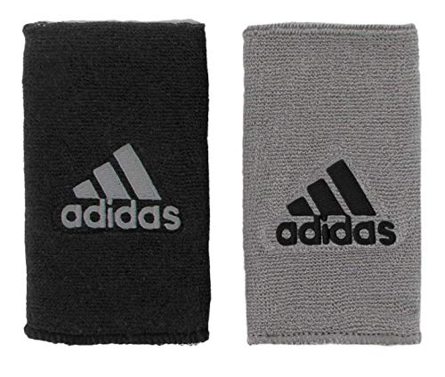 adidas Unisex Interval Large Reversible Wristband, Black/Aluminum 2 Aluminum 2/Black, ONE SIZE
