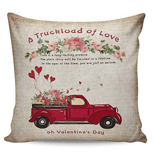 Scrummy Fundas de almohada de 66 x 66 cm, para el día de San Valentín, camión cargado de amor, globo rosa, vintage, periódico antiguo, funda de cojín cuadrada para decoración del hogar