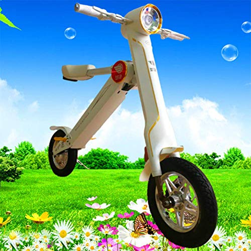 JJZXLQ Ebike Plegable con,Mini Bicicleta Eléctrica Plegable Portátil Bicicleta De Ciudad Eléctrica Plegable Tamaño: 12 Pulgadas, 250W, Capacidad De Carga: 150 Kg,Blanco