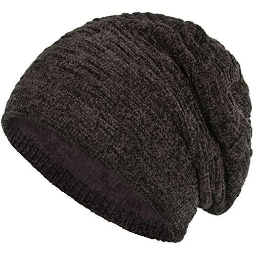 Compagno warm gefütterte Wintermütze Beanie Strickmütze Hat Herren Damen Mütze Haube Einheitsgröße, Farbe:Samt Braun