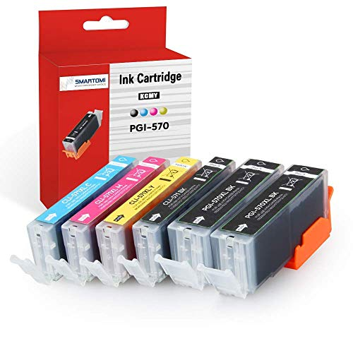 SMARTOMI 6PK PGI-570 XL CLI-571 XL Compatible Ink Cartridges Multi-Pack Canon pgi-570 Black cli-571 CMY Ink for used with CANON Pixma MG5750 MG5751 MG5752 MG5753 MG6851 MG6850 MG7750 Series Printers