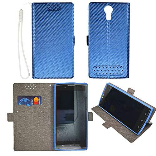 Oujietong Case for Unimax UMX U693CL Assurancewireless Case TPU Flip Cover Stand Shell Blue
