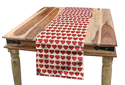 ABAKUHAUS Enamorado Camino de Mesa, Corazones Rojos Vibrantes, Rectangular para el Comedor Material Durable, 40 x 225 cm, Marfil Oscuro Coral