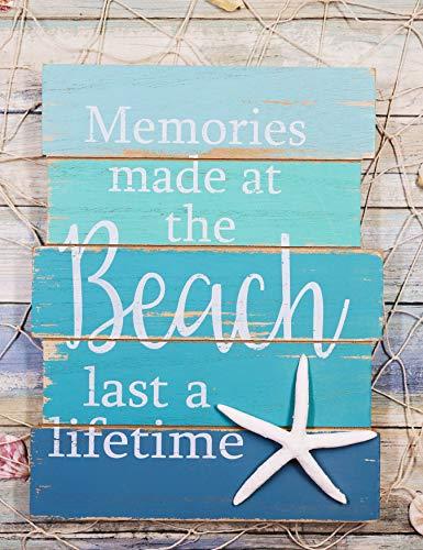 Ebros Nautical Memories Made At The Beach Last A Lifetime Starfish Blue Wooden Wall Decor Sign Sea Star Decorative Plaque 12.5'Tall Coastal Sandy Bluff Lagoon Marine Nursery Kids Bedroom Or Kitchen
