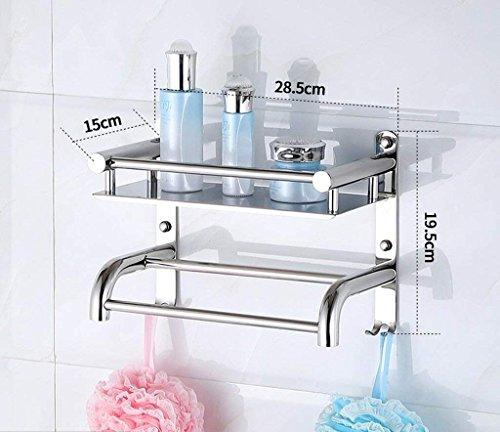 M-J Bad Racks Badkamer Opslag Rack 2 Laag RVS Badkamer Stijlvolle Eenvoud Handdoek Rack Cosmetische Opslag Rack (Kleur: A, Maat: 40 Cm), a,