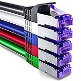 deleyCON 5X 2m RJ45 Cable de Conexión Ethernet & Red con Cable en Bruto CAT7 S-FTP PiMF Blindaje Gigabit LAN SFTP Cobre DSL Conmutador Enrutador Patch Panel - Colorido
