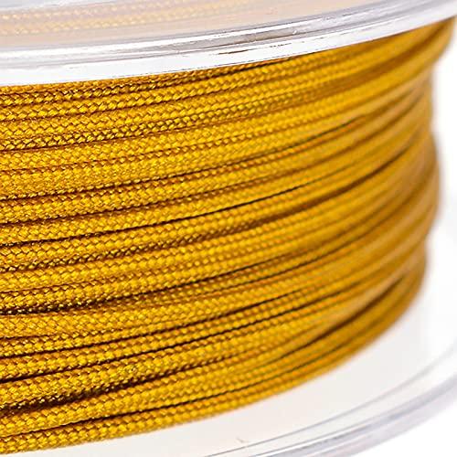 SHHMA Hilo De Nylon Cordón De Nylon Cuerda Trenzada Adecuado para Tejer A Mano, Hay 45 Colores Disponibles,Light Gold