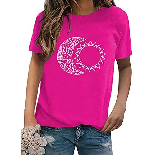 SLYZ 2021 Camiseta De Mujer De Manga Corta Estampada con Cuello Redondo Multicolor De Gran Tamaño De Verano para Mujer