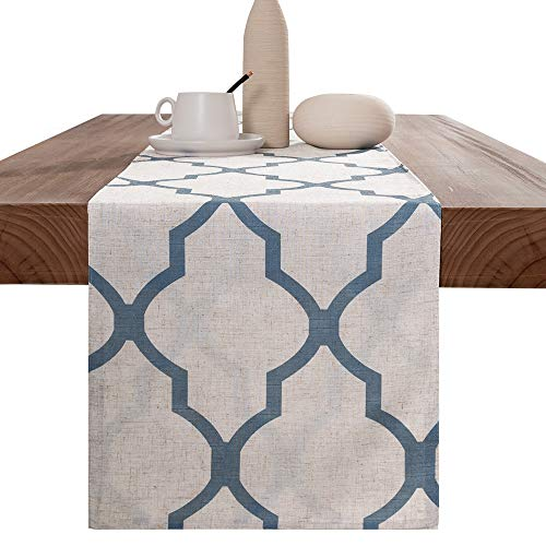 jinchan Moroccan Tile Table Runner Linen Textured for Kitchen Geometric Trellis Printed Table Cover 1 Panel 72' L Blue