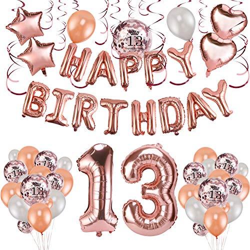 HOWAF Rose Gold 13. Geburtstag deko für Mädchen und Jungen, 59 Stück Happy Birthday Girlande Banner Luftballons Set Helium Folie Herz Ballon für 13 Geburtstag Dekoration