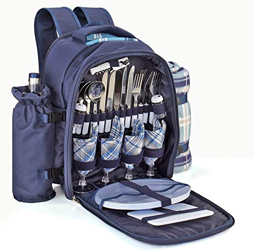 Picnic Backpack Kit - Set for 4 Person with Cooler Compartment, Detachable Bottle/Wine Holder, Fleece Blanket, Plates and Flatware Cutlery Set (Plaid Tartan - Blue)