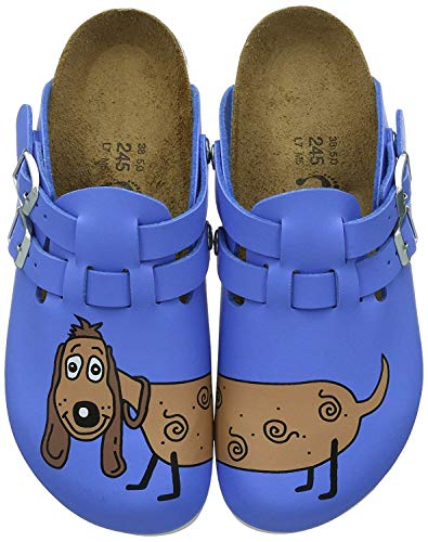 Birkenstock Professional Kay, Zuecos Mujer, Azul-Blau (Dog Blue Background), 39 EU