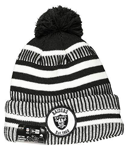 New Era Oakland Raiders Beanie Knit NFL 2019 Sideline Home 1960 Black/White - One-Size