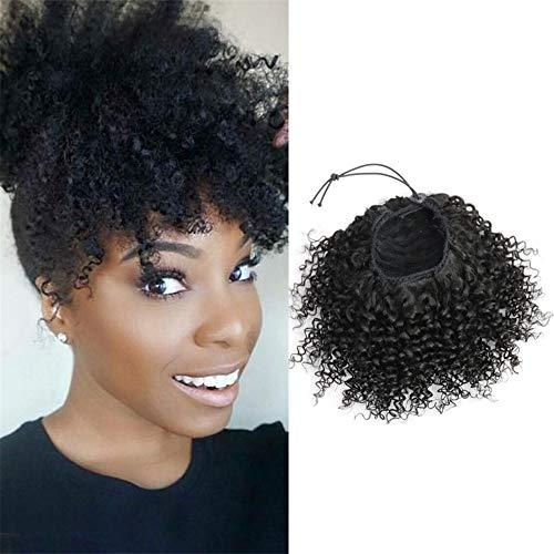 "LYZT Afro Kinky Curly Ponytail Extensions Clip-Ins 8""-18"" Remy Naturel Noir Brésilien Cheveux Pony Tail Réglable,12inches"