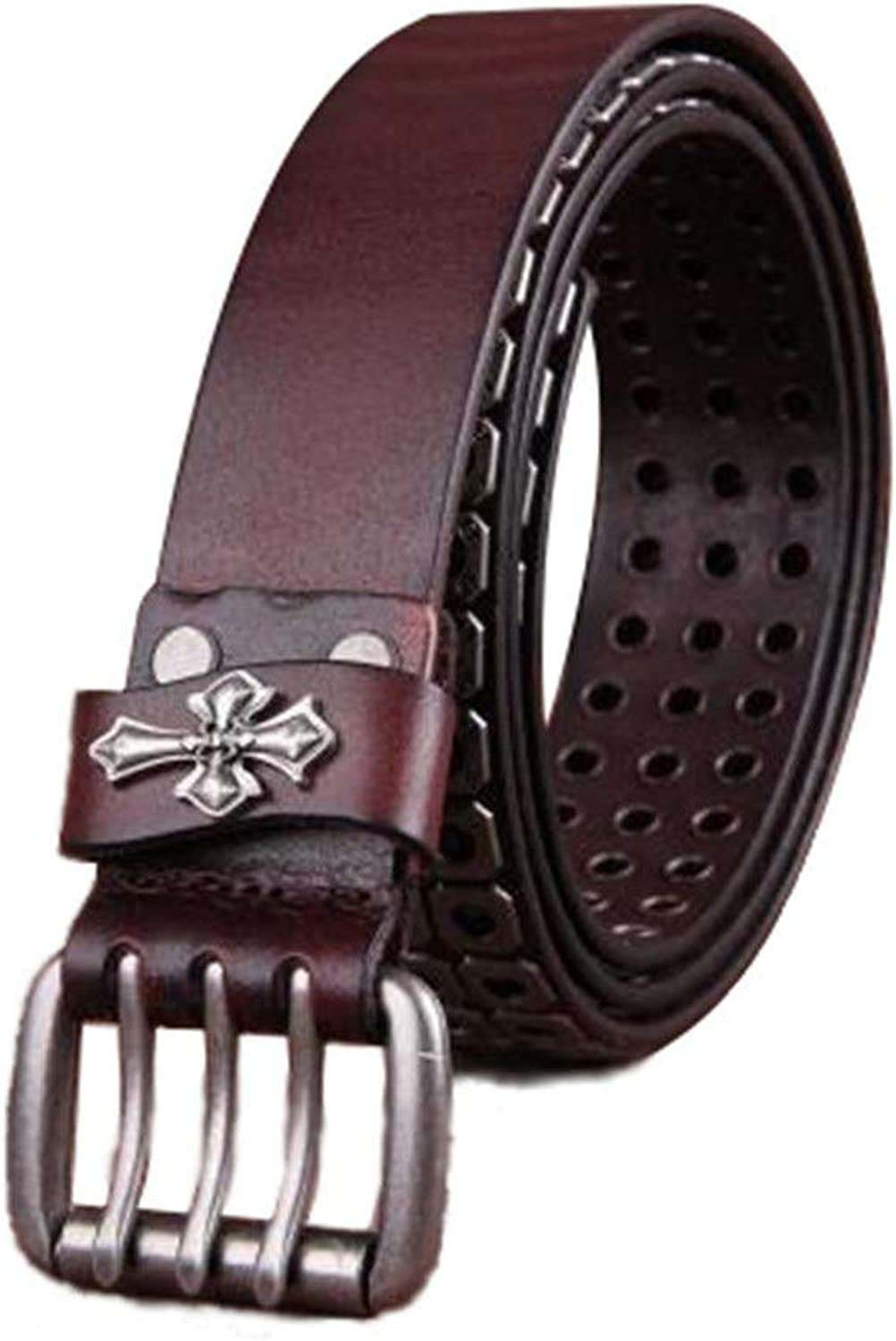 Studded Jeans Anti-Scratch Pin Triple Buckle Leather Belt Unisex Brown Belts (color   Brown, Size   Free Size)