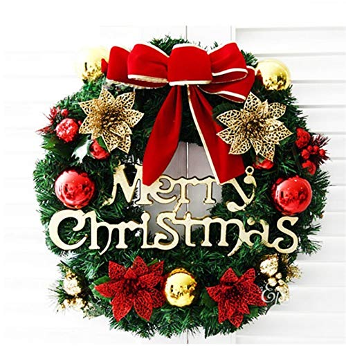 duibai Flower Artificial Christmas Wreath with Battery Powered LED Light String Front Door Hanging Garland Holiday Home Decorations (Color : No LED Red Flower, Diameter : 40cm)