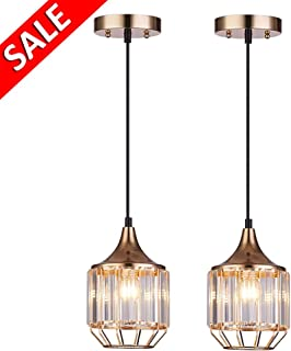 Cuaulans 2 pack Industrial Caged Crystal Pendant Light, Gold Finish Ceiling Hanging Pendant Lighting Fixture with Adjustable Cord
