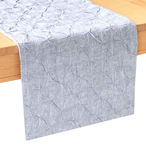 Grey Linen Dresser Scarf Table Runners (14x48 inch, Pack of 1, Pinch Pleat- Textured) Fabric Lined | Properly Finished, No Fray Edges | for Home, Kitchen, Dining Room, Holiday, Wedding Party Décor