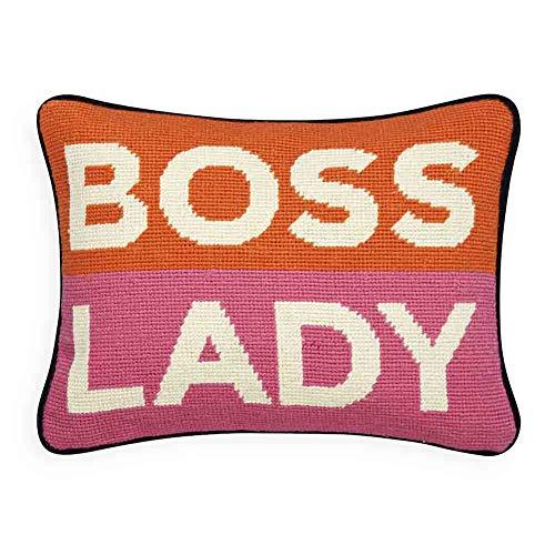 Jonathan Adler Personality Boss Lady Needlepoint Throw Pillow, One Size, Pink Orange