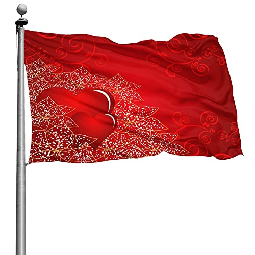 Día de San Valentín Bandera de corazón de amor floral 4x6 pies Bandera de poliéster cosida grande Bandera estándar colgante exterior para patio Jardín Césped Vacaciones