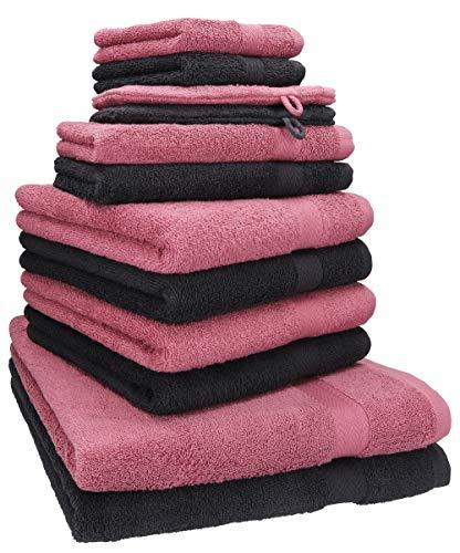 Betz 12-TLG. Handtuch Set Premium 100% Baumwolle 2 Duschtücher 4 Handtücher 2 Gästetücher 2 Seiftücher 2 Waschhandschuhe Farbe Graphit grau/Beere