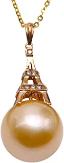 JYX Pearl 14K Gold Diamonds Pendant 13.5mm South Sea Golden Pearl Eiffel Tower Inlaid Perfect Round Pearl Drop Necklace Best Gift For Women Lady Gift