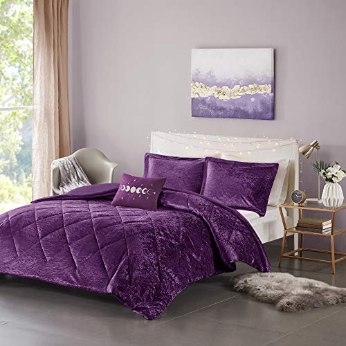 Intelligent Design Felicia Duvet Set Velvet Double Sided Diamond Quilting,Modern Glam, All Season Comforter Cover Bedding Set with Matching Sham, Decorative Pillow, Full/Queen(88