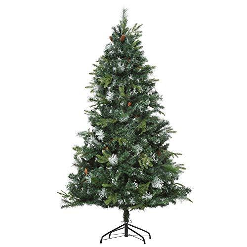 homcom Albero di Natale Artificiale di 180cm con 1077 Rami Leggermente Innevati, Pigne e Base Pieghevole, in PE e PVC