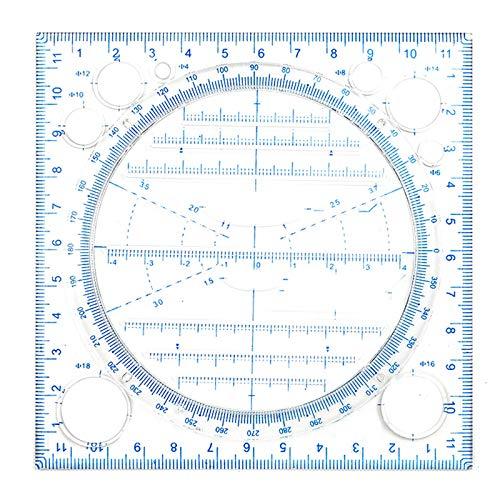 XIHUANNI Regla de dibujo multifuncional, dibujo multiusos curva redonda horizontal, línea paralela vertical para suministros de papelería
